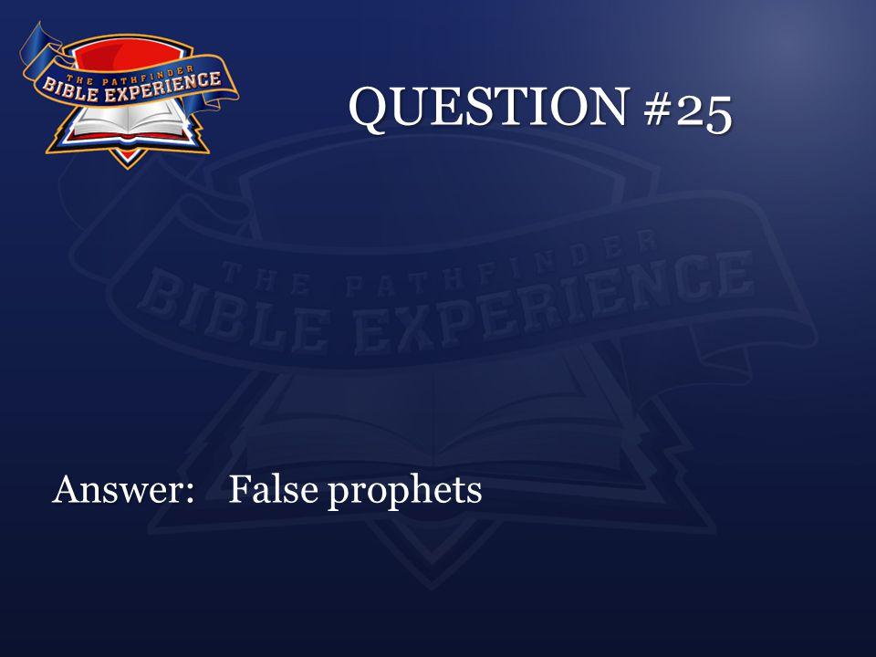 QUESTION #25 Answer: Answer:False prophets