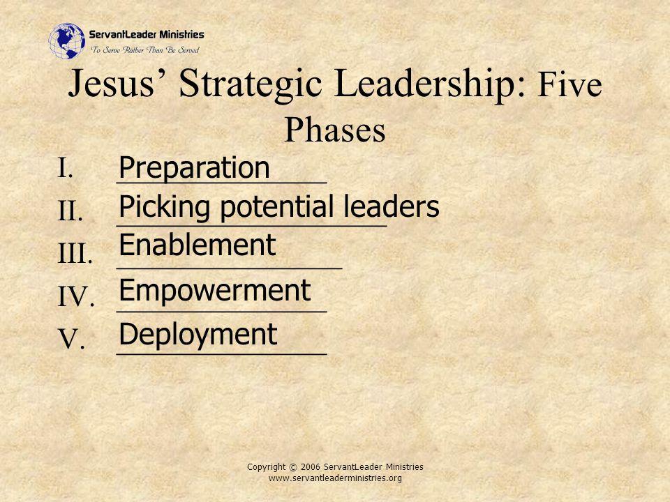 Copyright © 2006 ServantLeader Ministries www.servantleaderministries.org Jesus' Strategic Leadership: Five Phases I.______________ II.__________________ III._______________ IV.______________ V.______________ Preparation Picking potential leaders Enablement Empowerment Deployment