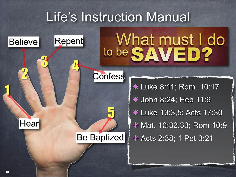 ✴ Luke 8:11; Rom.10:17 ✴ John 8:24; Heb 11:6 ✴ Luke 13:3,5; Acts 17:30 ✴ Mat.