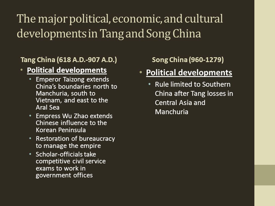 The major political, economic, and cultural developments in Tang and Song China Tang China (618 A.D.-907 A.D.) Political developments Emperor Taizong