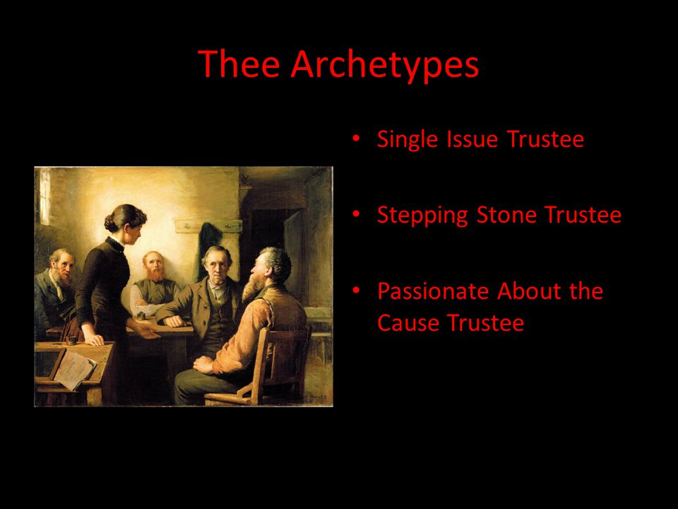 Thee Archetypes Single Issue Trustee Stepping Stone Trustee Passionate About the Cause Trustee