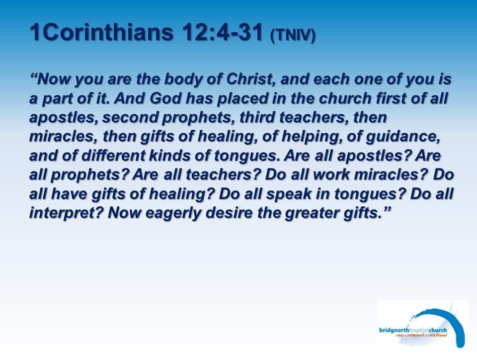 1Corinthians 12:4-31 (TNIV) Different gifts, different service, different working Types of gifts mentioned and the reason for them Gifts and ministries – hierarchy.