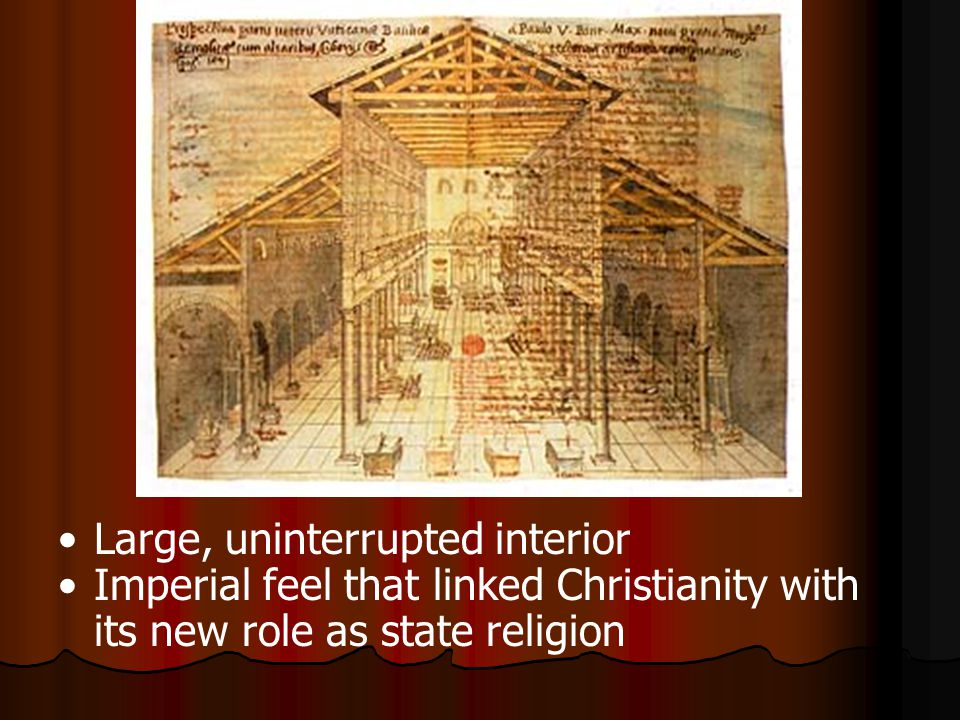Large, uninterrupted interior Imperial feel that linked Christianity with its new role as state religion
