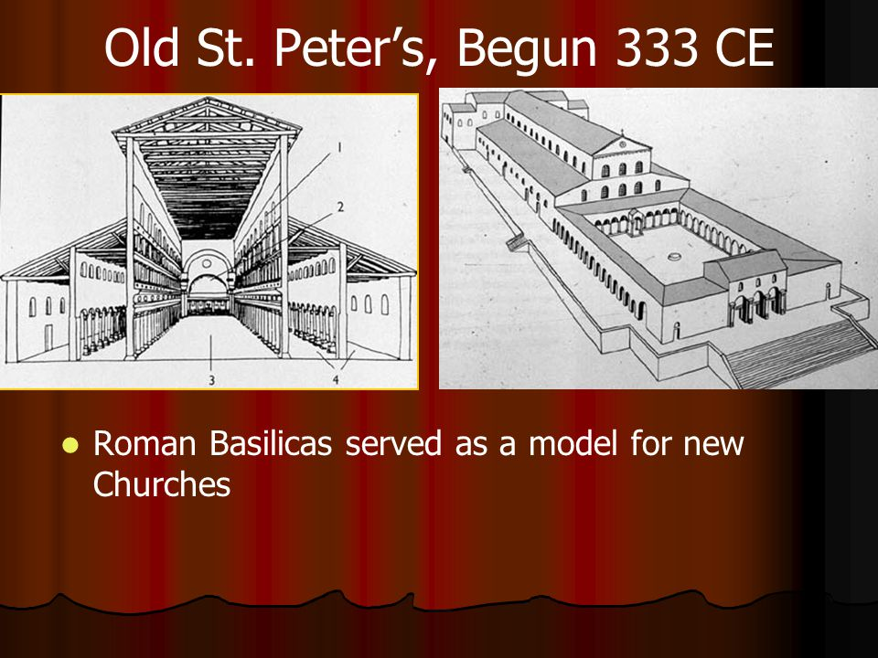 Old St. Peter's, Begun 333 CE Roman Basilicas served as a model for new Churches
