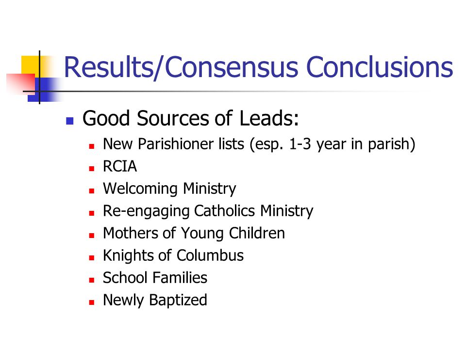 Results/Consensus Conclusions Good Sources of Leads: New Parishioner lists (esp.