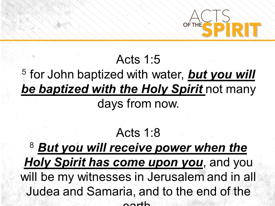 Acts 1:5 5 for John baptized with water, but you will be baptized with the Holy Spirit not many days from now.