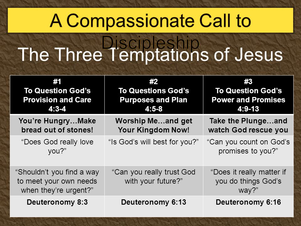 The Three Temptations of Jesus #1 To Question God's Provision and Care 4:3-4 #2 To Questions God's Purposes and Plan 4:5-8 #3 To Question God's Power