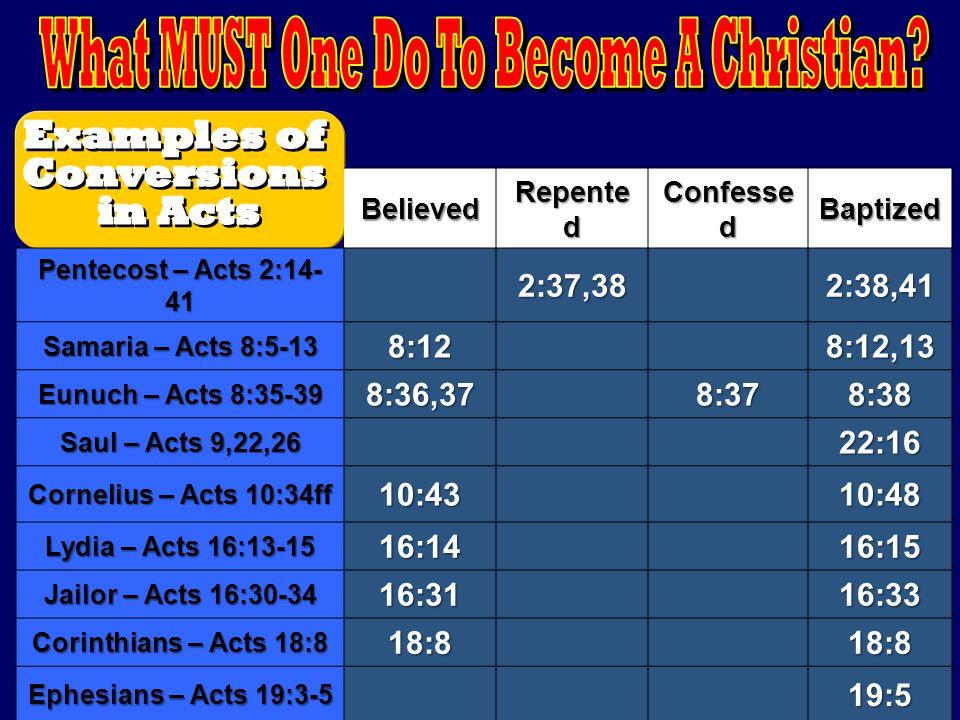 Believed Repente d Confesse d Baptized Pentecost – Acts 2:14- 41 2:37,382:38,41 Samaria – Acts 8:5-13 8:128:12,13 Eunuch – Acts 8:35-39 8:36,378:378:3