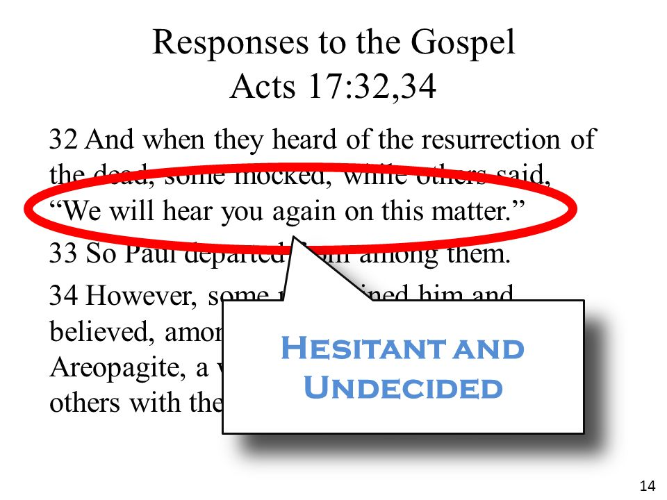 """Responses to the Gospel Acts 17:32,34 32 And when they heard of the resurrection of the dead, some mocked, while others said, """"We will hear you again"""