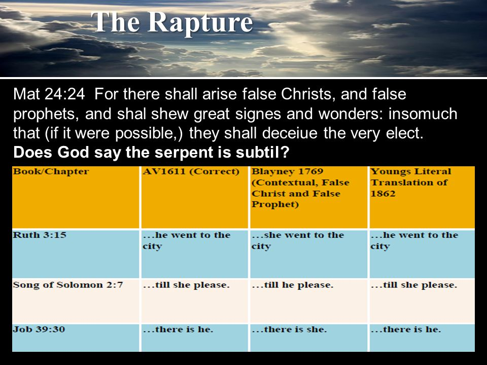 The Rapture Mat 24:24 For there shall arise false Christs, and false prophets, and shal shew great signes and wonders: insomuch that (if it were possi