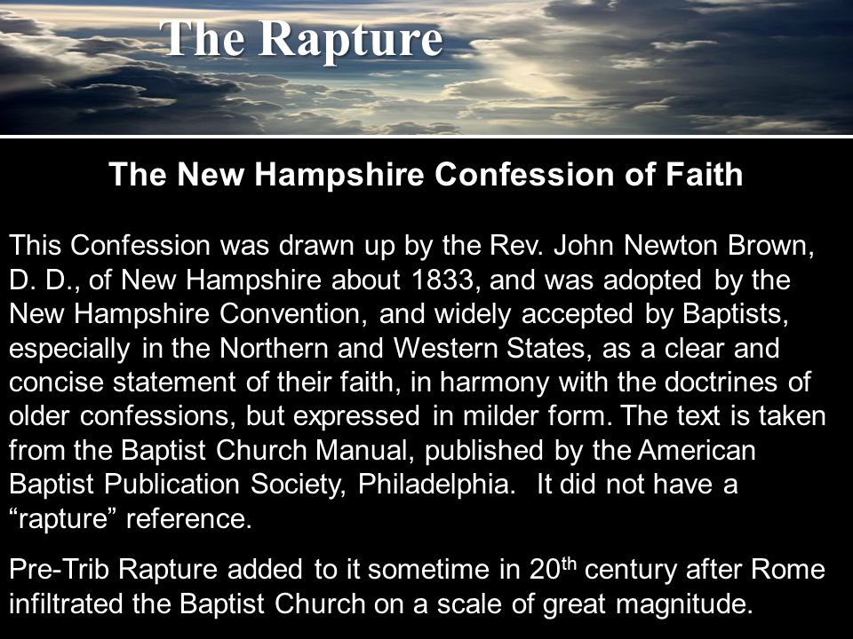 The Rapture 1 Cor 3:21 Therefore let no man glory in men, … Jer 17:5 Thus saith the Lord; Cursed be the man that trusteth in man, and maketh flesh his arme, and whose heart departeth from the Lord.