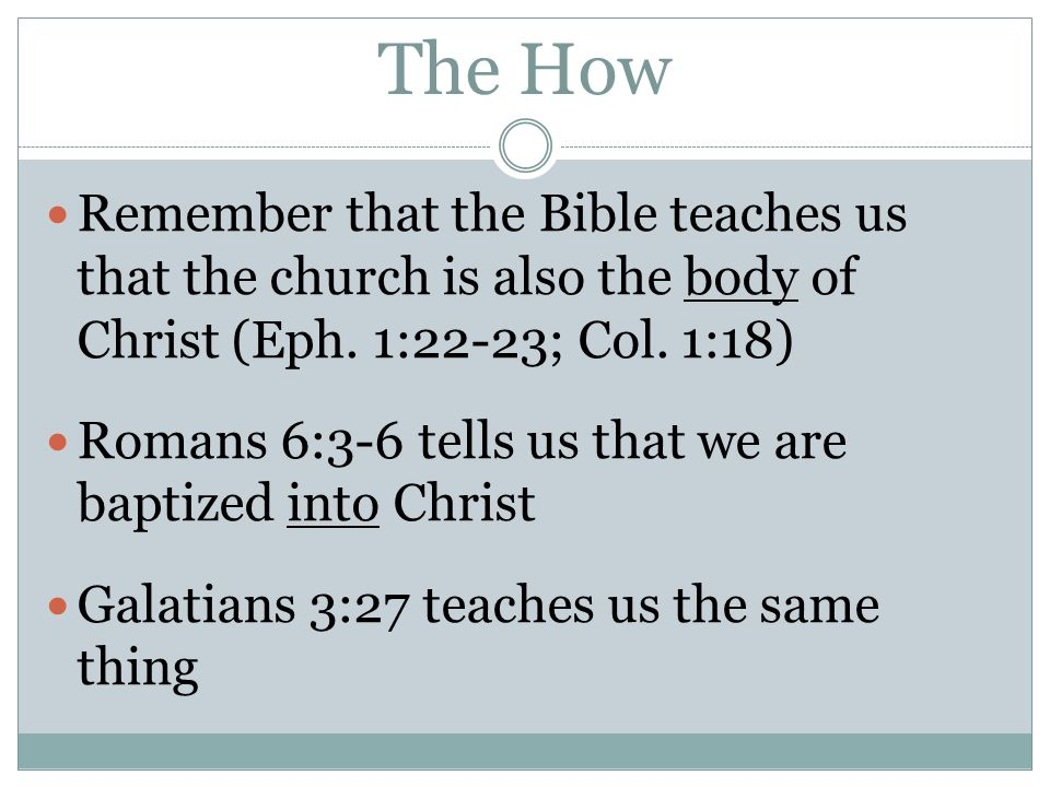 The How Remember that the Bible teaches us that the church is also the body of Christ (Eph. 1:22-23; Col. 1:18) Romans 6:3-6 tells us that we are bapt