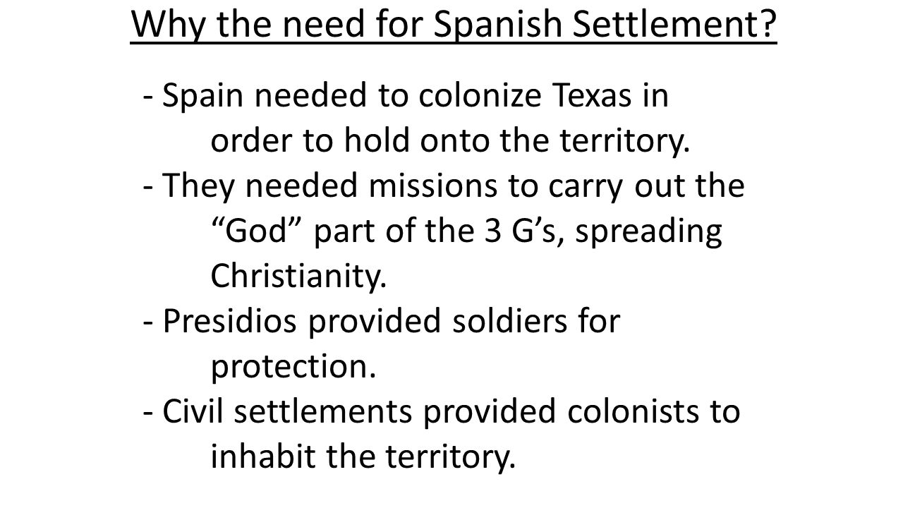The French Return - In 1699, France built a trading post at Biloxi, MS then one in Mobile, AL -Purpose was for trading with Natives -French didn't want land - Spain saw this as competition for the land and renewed colonization efforts