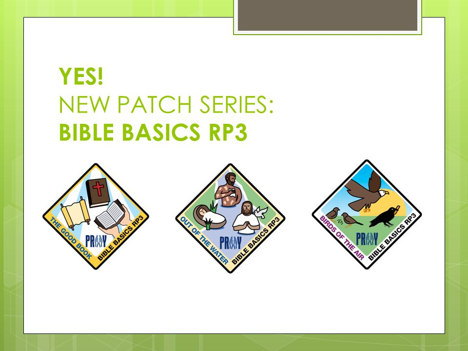 YES! NEW PATCH SERIES: BIBLE BASICS RP3