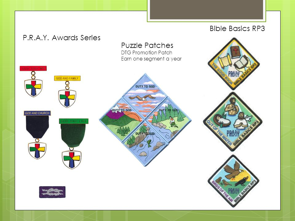 P.R.A.Y. Awards Series Puzzle Patches DTG Promotion Patch Earn one segment a year Bible Basics RP3