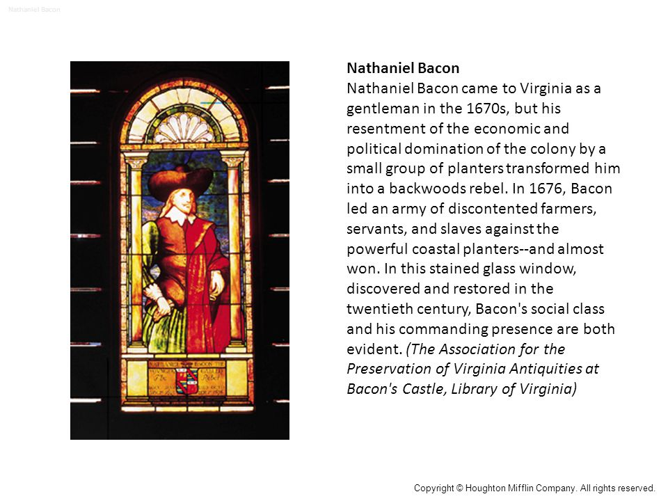 Nathaniel Bacon Nathaniel Bacon came to Virginia as a gentleman in the 1670s, but his resentment of the economic and political domination of the colony by a small group of planters transformed him into a backwoods rebel.