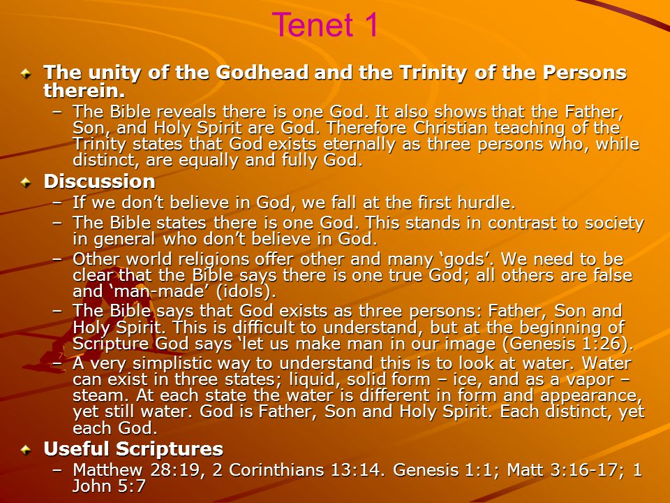 Tenet - Latin word 'tenere' - means 'to hold'. False teaching necessitates need to 'hold on' to what the Bible tells us. Tenets do not seek to replace