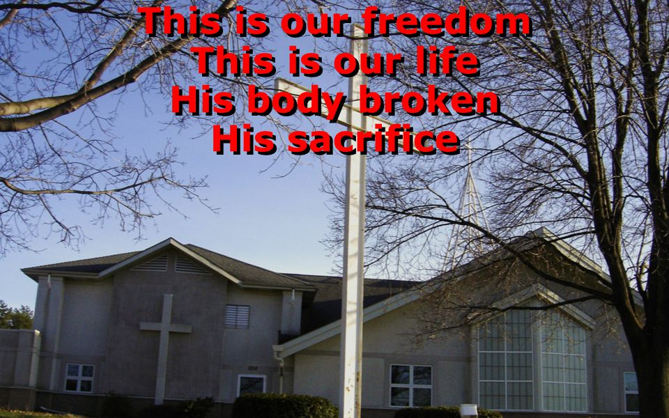This is our freedom This is our life His body broken His sacrifice This is our freedom This is our life His body broken His sacrifice