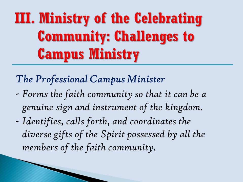The Professional Campus Minister - Forms the faith community so that it can be a genuine sign and instrument of the kingdom. -Identifies, calls forth,