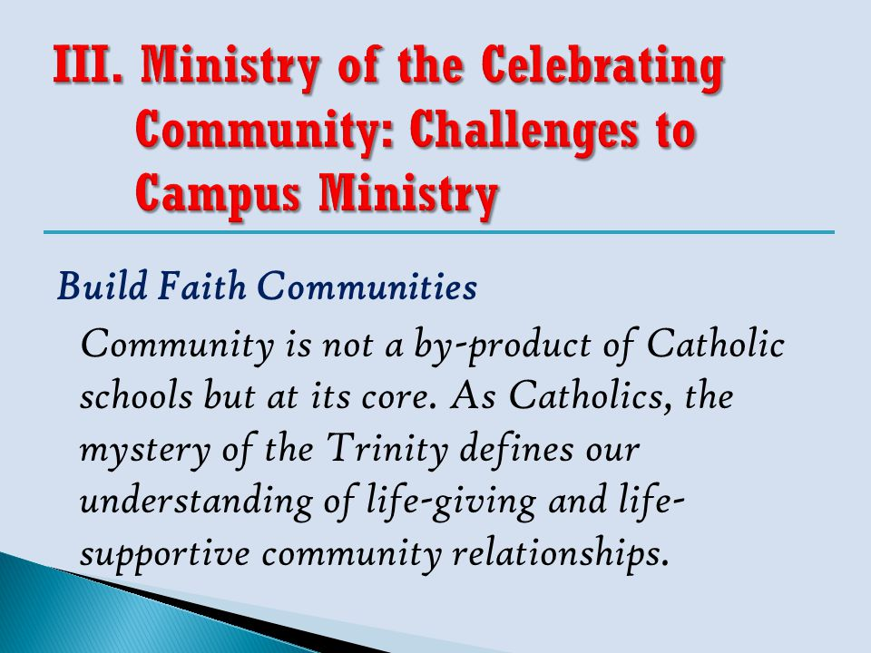 Community is not a by-product of Catholic schools but at its core. As Catholics, the mystery of the Trinity defines our understanding of life-giving a