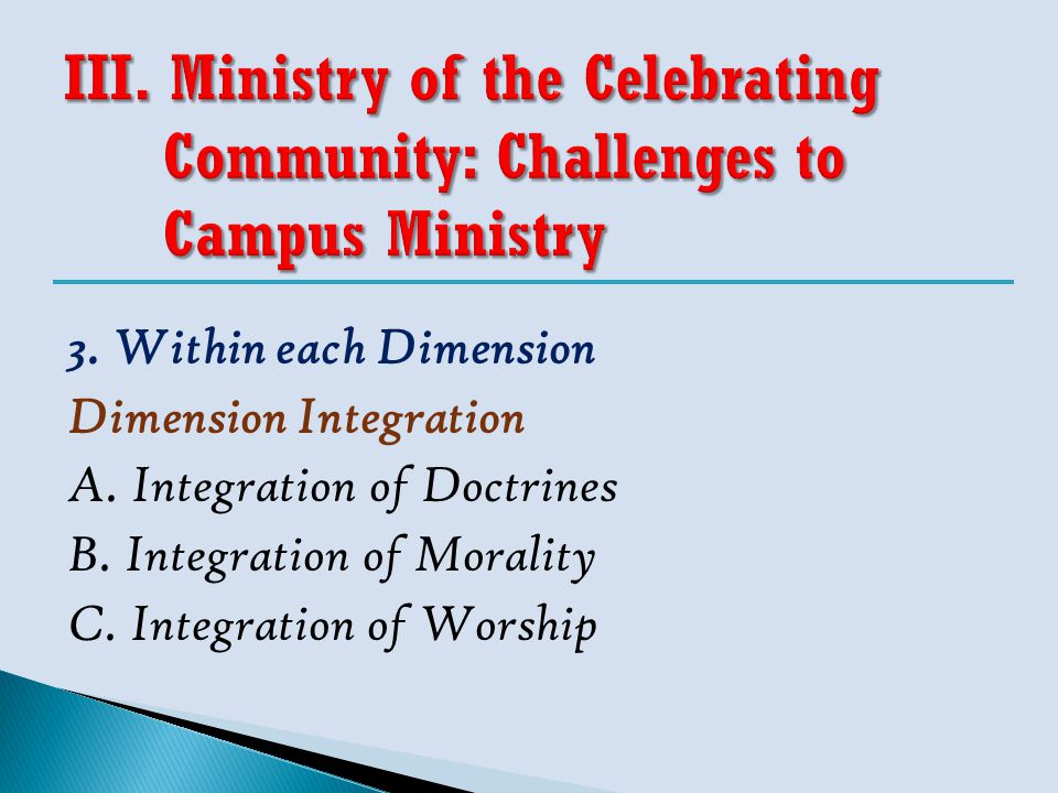 3. Within each Dimension Dimension Integration A. Integration of Doctrines B. Integration of Morality C. Integration of Worship