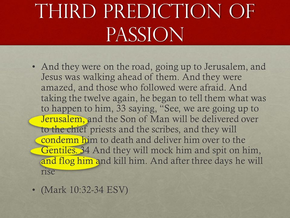 Third prediction of passion And they were on the road, going up to Jerusalem, and Jesus was walking ahead of them.