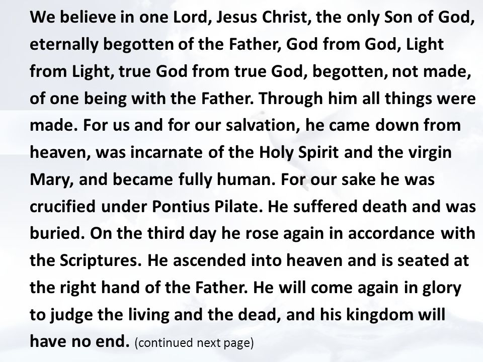 We believe in one Lord, Jesus Christ, the only Son of God, eternally begotten of the Father, God from God, Light from Light, true God from true God, begotten, not made, of one being with the Father.