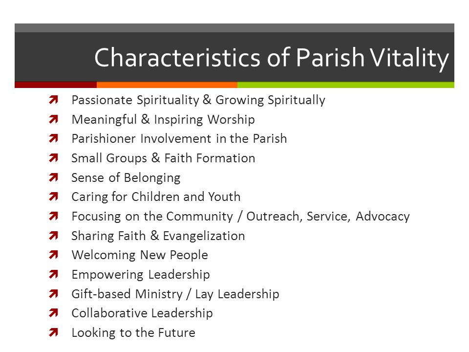 Characteristics of Parish Vitality  Passionate Spirituality & Growing Spiritually  Meaningful & Inspiring Worship  Parishioner Involvement in the Parish  Small Groups & Faith Formation  Sense of Belonging  Caring for Children and Youth  Focusing on the Community / Outreach, Service, Advocacy  Sharing Faith & Evangelization  Welcoming New People  Empowering Leadership  Gift-based Ministry / Lay Leadership  Collaborative Leadership  Looking to the Future
