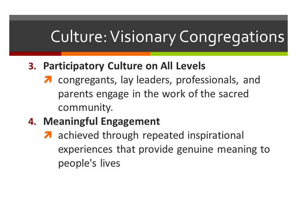 Culture: Visionary Congregations 3.
