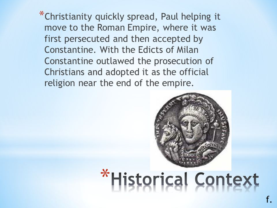 * Christianity developed out of Judaism in the 1st century C.E. It is founded on the life, teachings, death, and resurrection of Jesus Christ, and tho