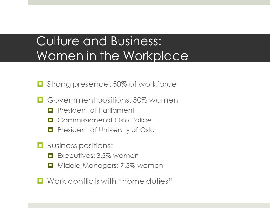 Culture and Business: Women in the Workplace  Strong presence: 50% of workforce  Government positions: 50% women  President of Parliament  Commissioner of Oslo Police  President of University of Oslo  Business positions:  Executives: 3.5% women  Middle Managers: 7.5% women  Work conflicts with home duties