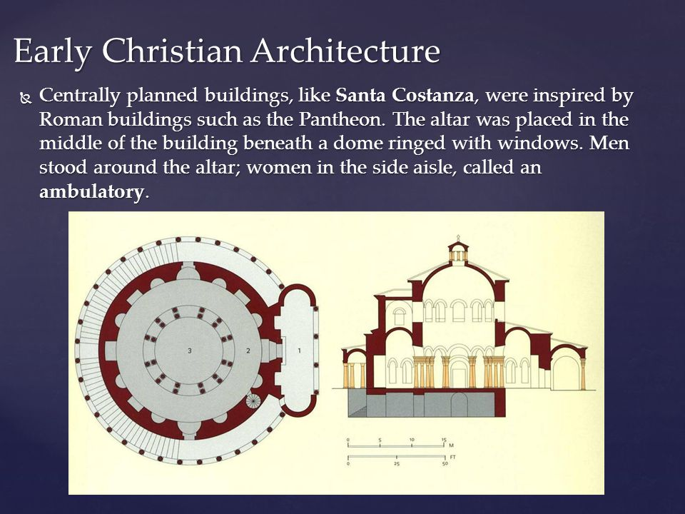  Centrally planned buildings, like Santa Costanza, were inspired by Roman buildings such as the Pantheon.