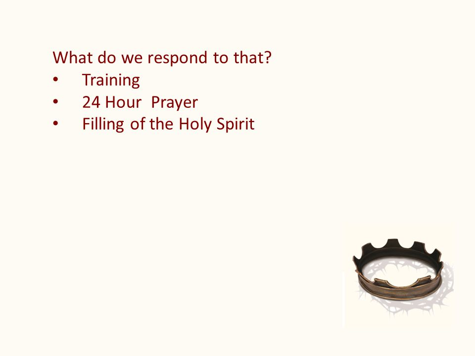 What do we respond to that Training 24 Hour Prayer Filling of the Holy Spirit