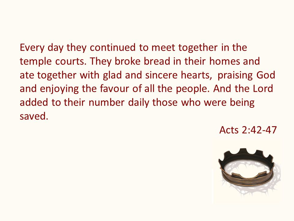 Every day they continued to meet together in the temple courts.
