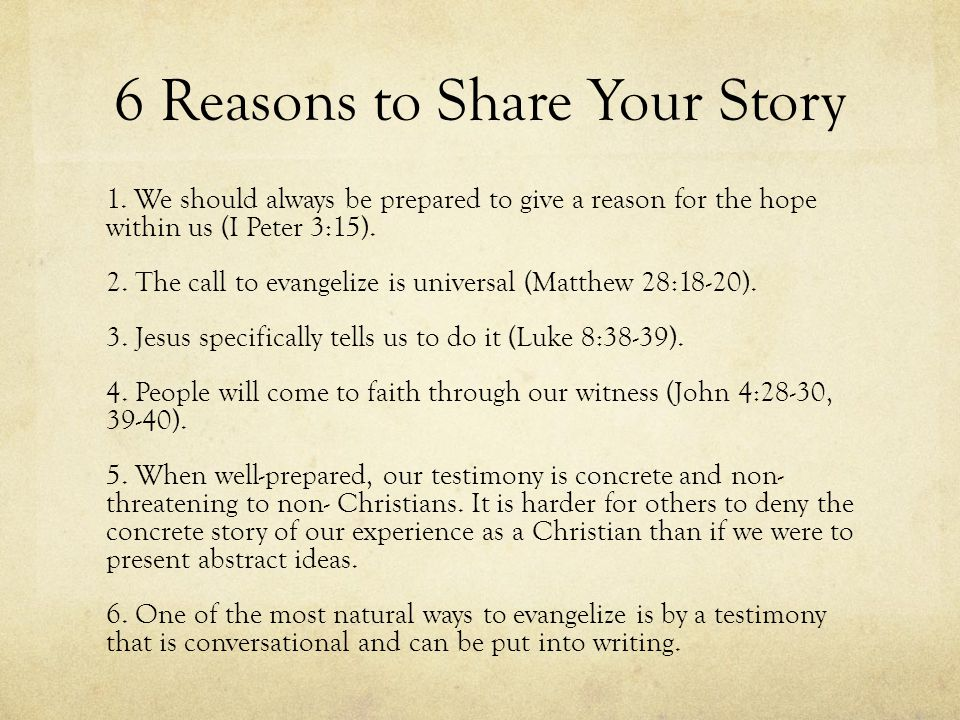 6 Reasons to Share Your Story 1.