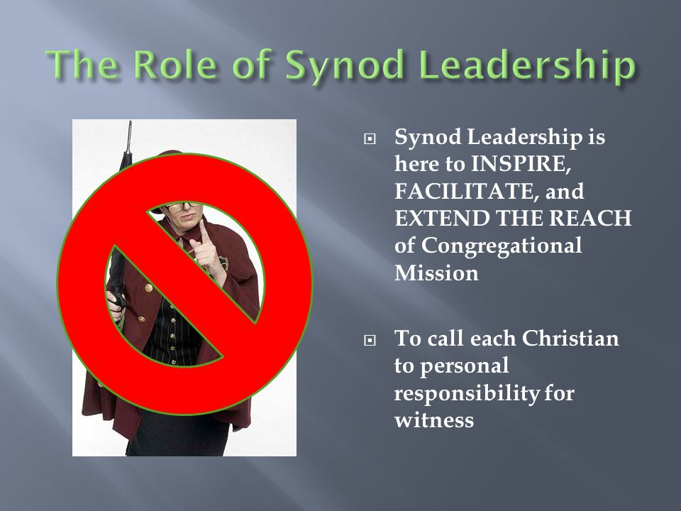  Synod Leadership is here to INSPIRE, FACILITATE, and EXTEND THE REACH of Congregational Mission  To call each Christian to personal responsibility