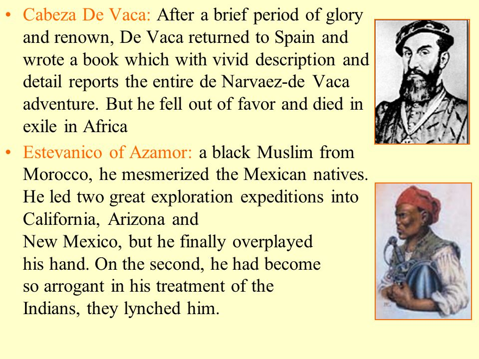 Cabeza De Vaca: After a brief period of glory and renown, De Vaca returned to Spain and wrote a book which with vivid description and detail reports t