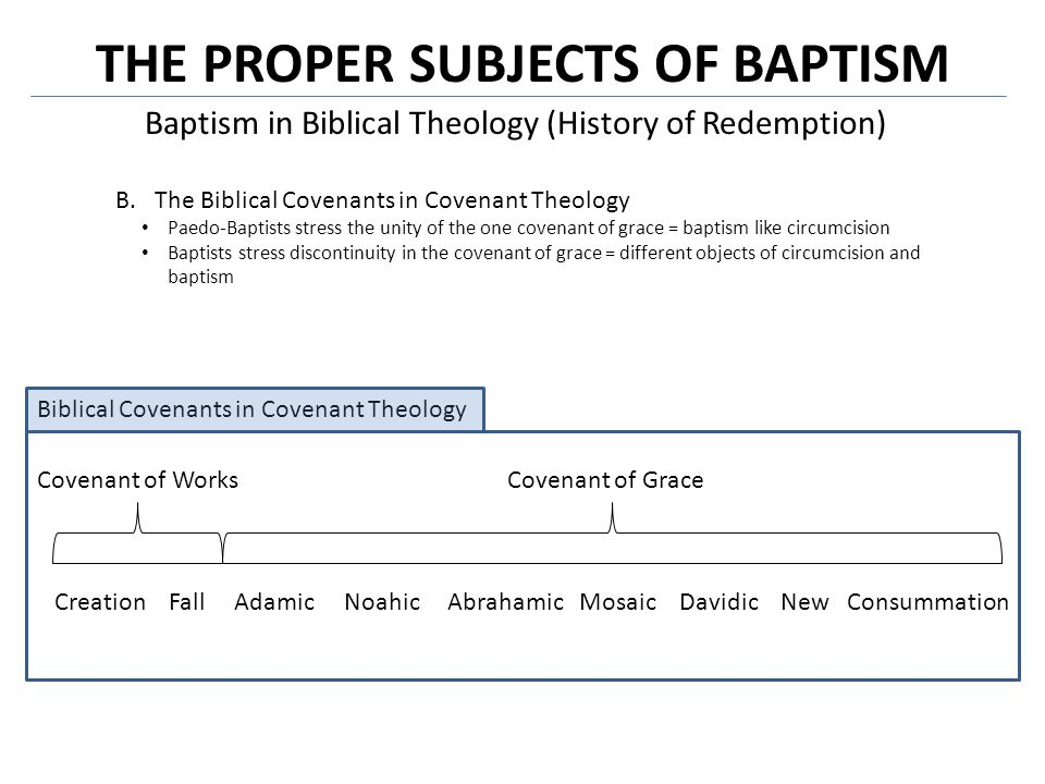 THE PROPER SUBJECTS OF BAPTISM Baptism in Biblical Theology (History of Redemption) C.The Biblical Covenants in The History of Redemption 1.