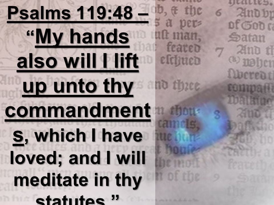 Psalms 119:48 – My hands also will I lift up unto thy commandment s, which I have loved; and I will meditate in thy statutes.