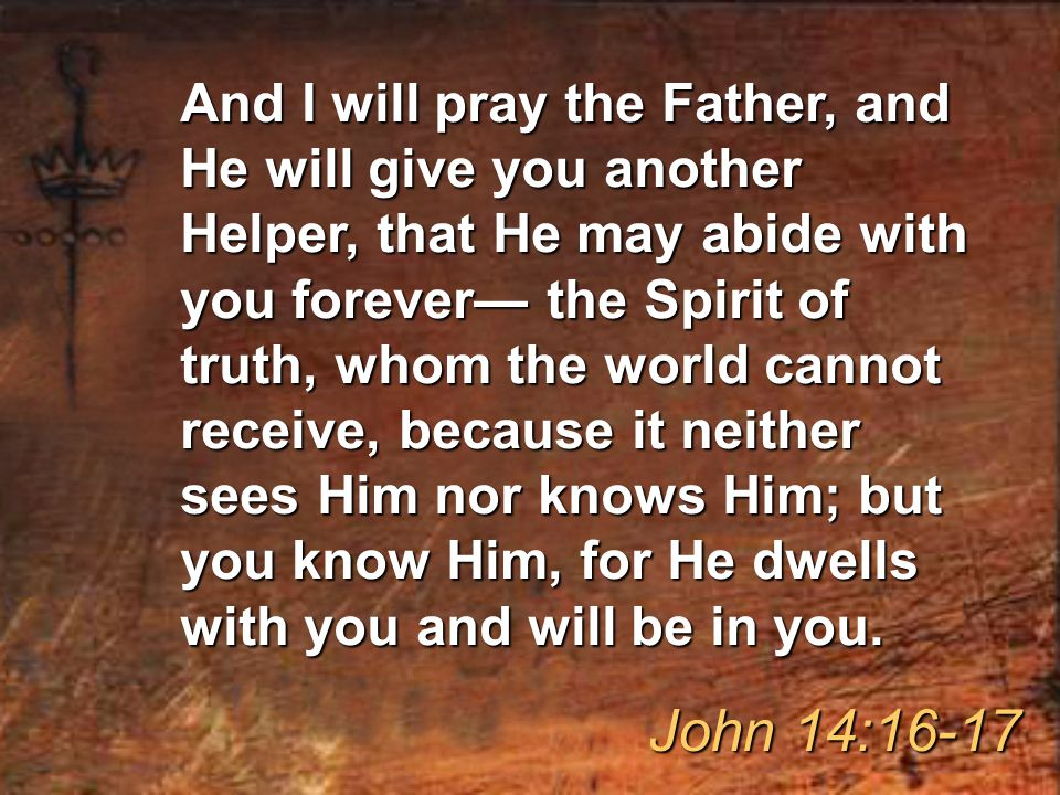 And I will pray the Father, and He will give you another Helper, that He may abide with you forever— the Spirit of truth, whom the world cannot receive, because it neither sees Him nor knows Him; but you know Him, for He dwells with you and will be in you.