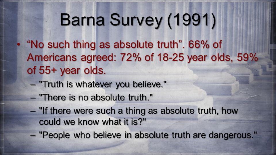 Barna Survey (1991) No such thing as absolute truth .