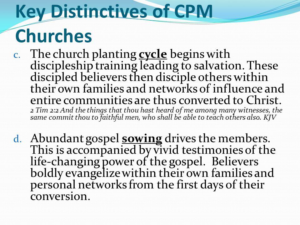 Key Distinctives of CPM Churches c.