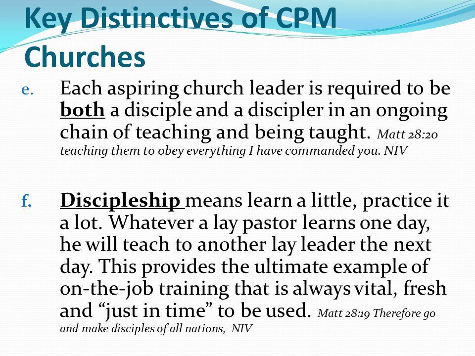Key Distinctives of CPM Churches e.