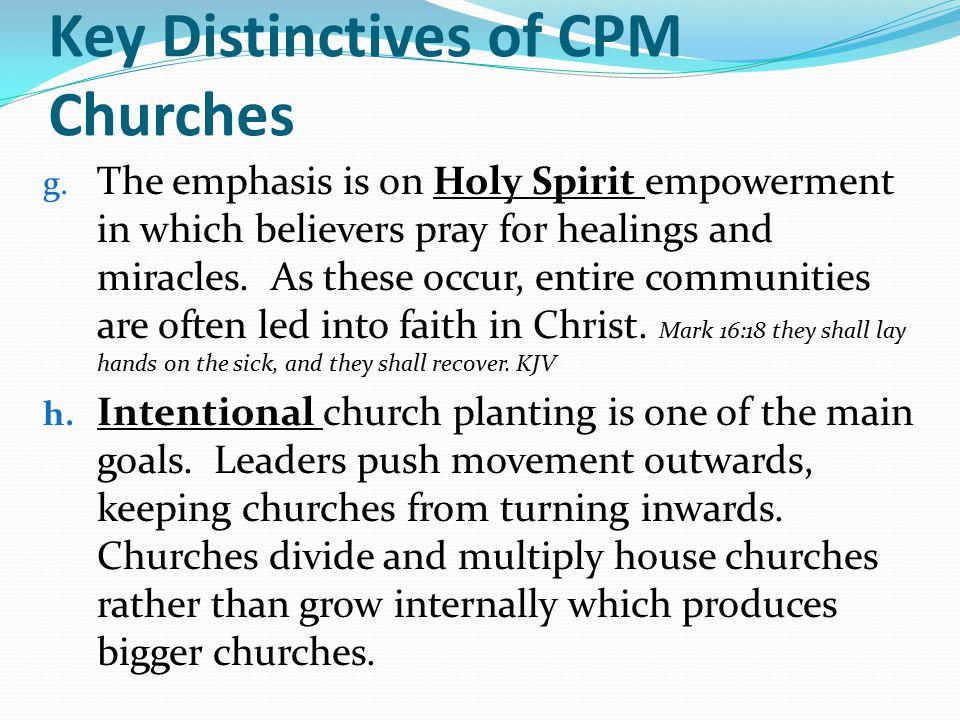 Key Distinctives of CPM Churches g.
