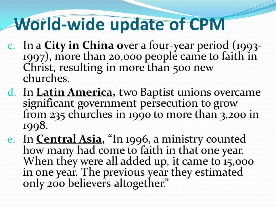 World-wide update of CPM c.