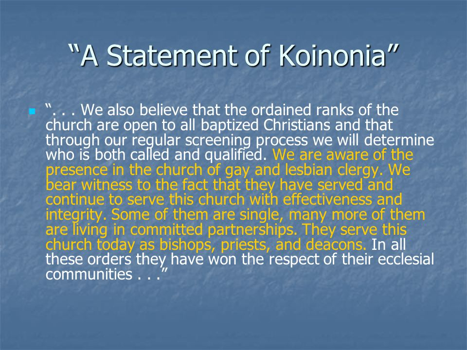 A Statement of Koinonia ...