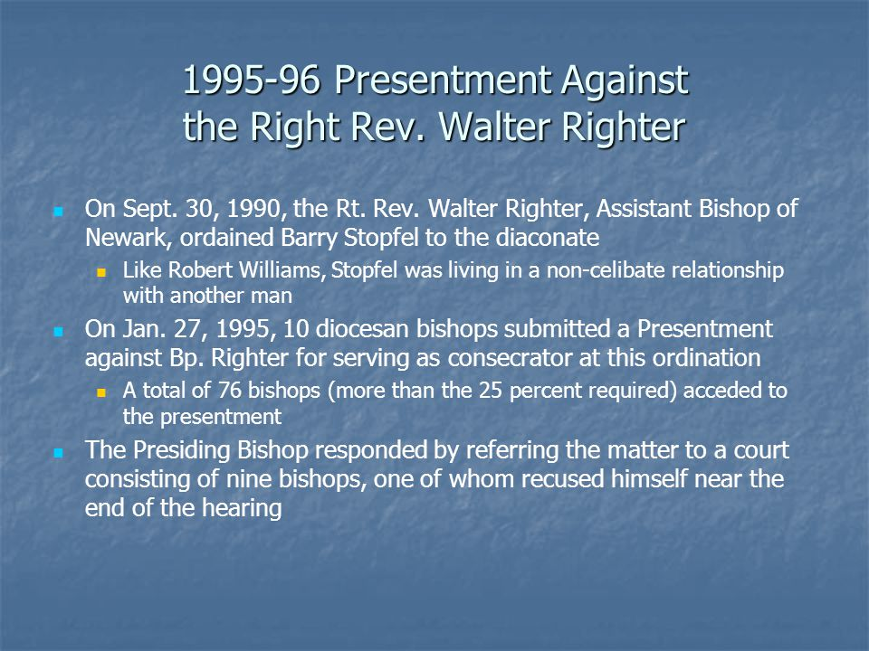 1995-96 Presentment Against the Right Rev.Walter Righter On Sept.