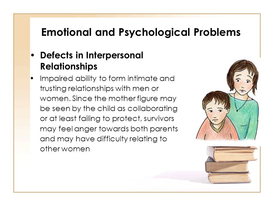 Emotional and Psychological Problems Defects in Interpersonal Relationships Impaired ability to form intimate and trusting relationships with men or w