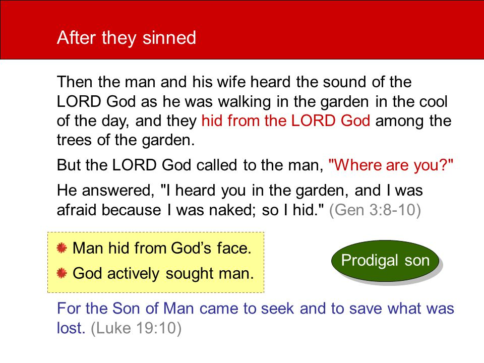 Then the man and his wife heard the sound of the LORD God as he was walking in the garden in the cool of the day, and they hid from the LORD God among the trees of the garden.