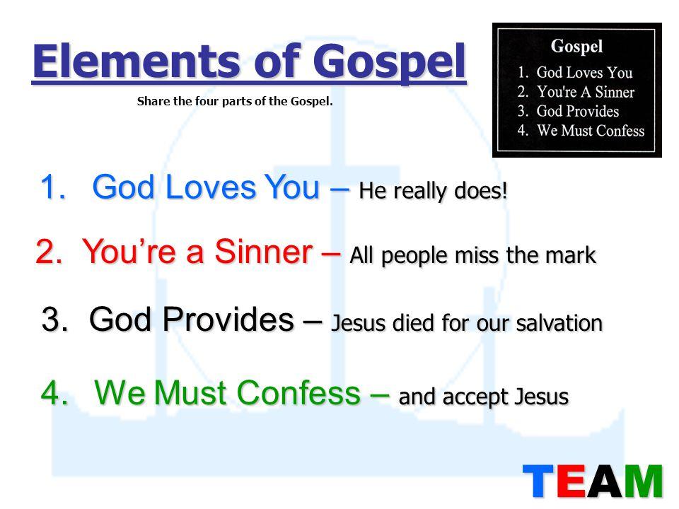Elements of Gospel 1. God Loves You – He really does.
